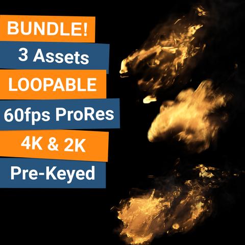 BHVFX - 3x 4K Loopable Flame VFX Assets