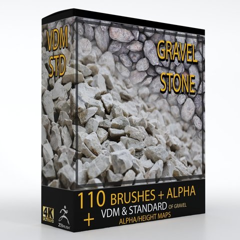 110 VDM + STANDARD BRUSH GRAVEL STONE BRUSHES +110 ALPHA/HEIGHT MAPS HIGH QUALITY (4K)- ( Commercial License )