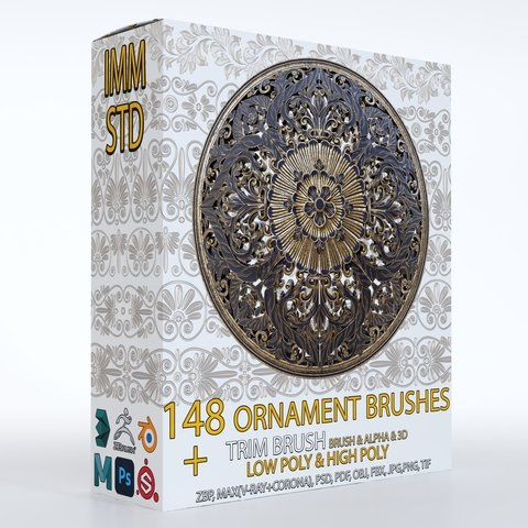 148 Ornament IMM, Standard and Trim brushes with 3D Model and Alpha