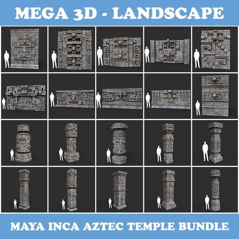 Low poly Mayan Inca Aztec Temple Modular Pack - Gray Color
