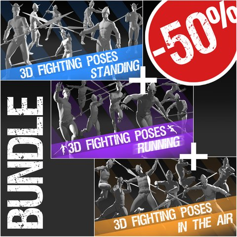 """Bundle 3D Fighting Poses: """"Standing"""" + """"Running"""" + """"In The Air"""""""