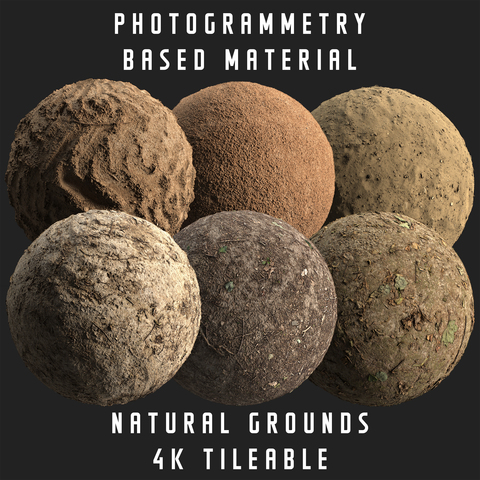 Natural grounds 6 pcs. - Photogrammetry based materials bundle