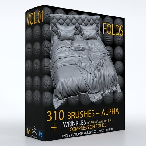 310 ZBbrush Brush + ALPHA , ( wrinkle & fold brushes for fabric and leather ) + 3D model & 3 Video Tutorials-Vol. 01( Commercial License )