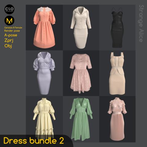 Dress bundle 2. Standard Use License. Clo3d, Marvelous Designer projects.