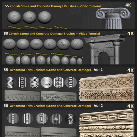 240 Zbrush Stone and Concrete Damage Brushes + Ornament Trim Brushes