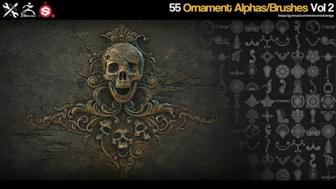 ZBrush/SP - 55 Ornament Brushes/Alphas - Vol.2