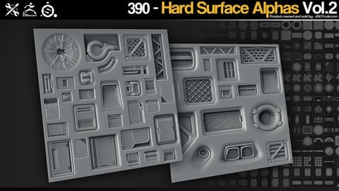 ZBrush/SP - 390 HardSurface alphas Vol.2