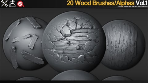 ZBrush/SP - 20 Wood Brushes/Alphas Vol.1