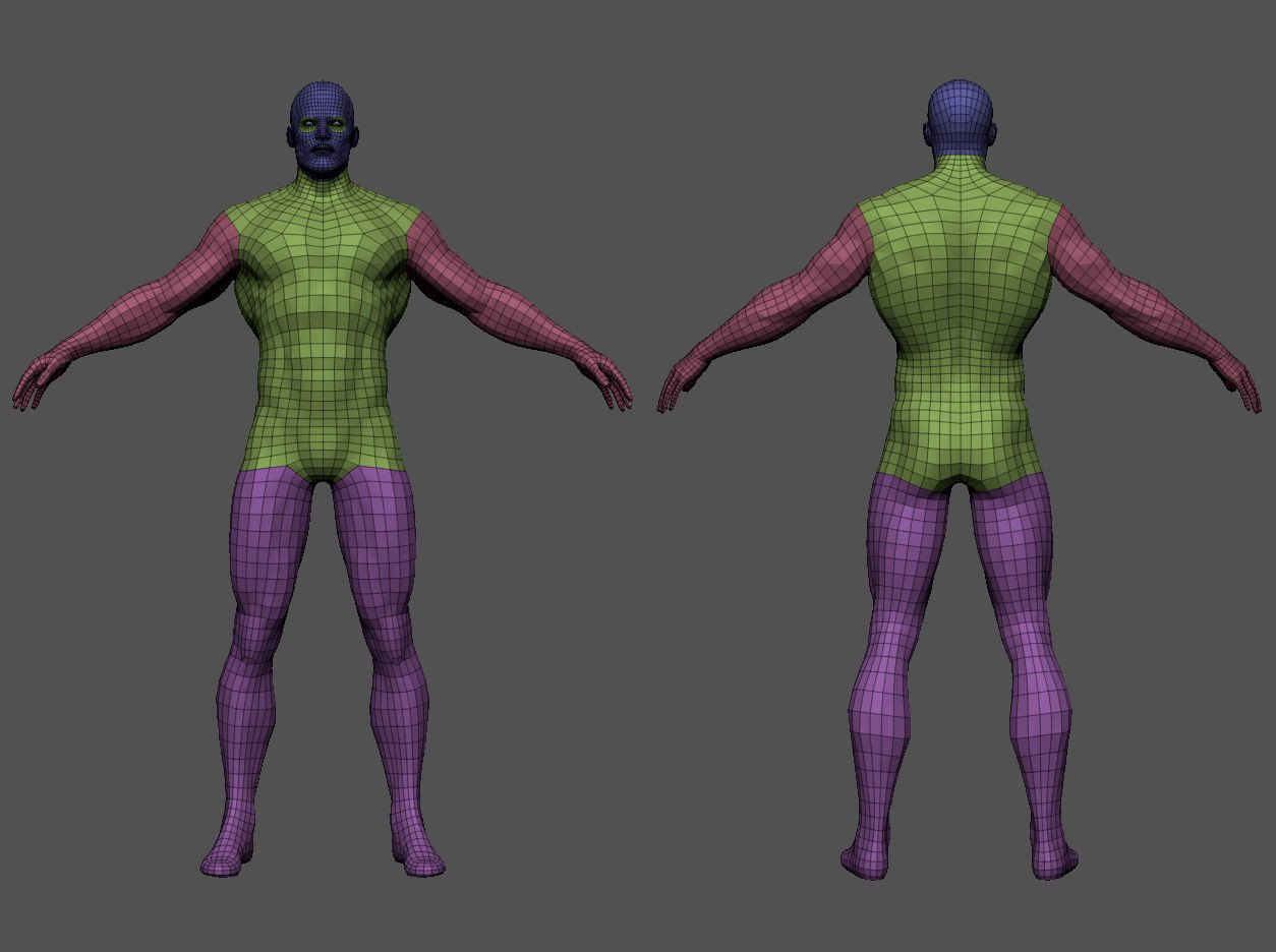Superhero base mesh 3d model low poly obj fbx ma mb ztl mtl tbscene%20%282%29