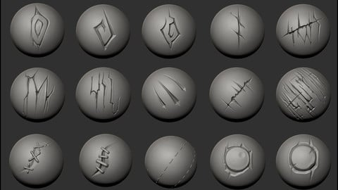 Stylized Brush Set 1 - For Zbrush 4R8 P2 or higher