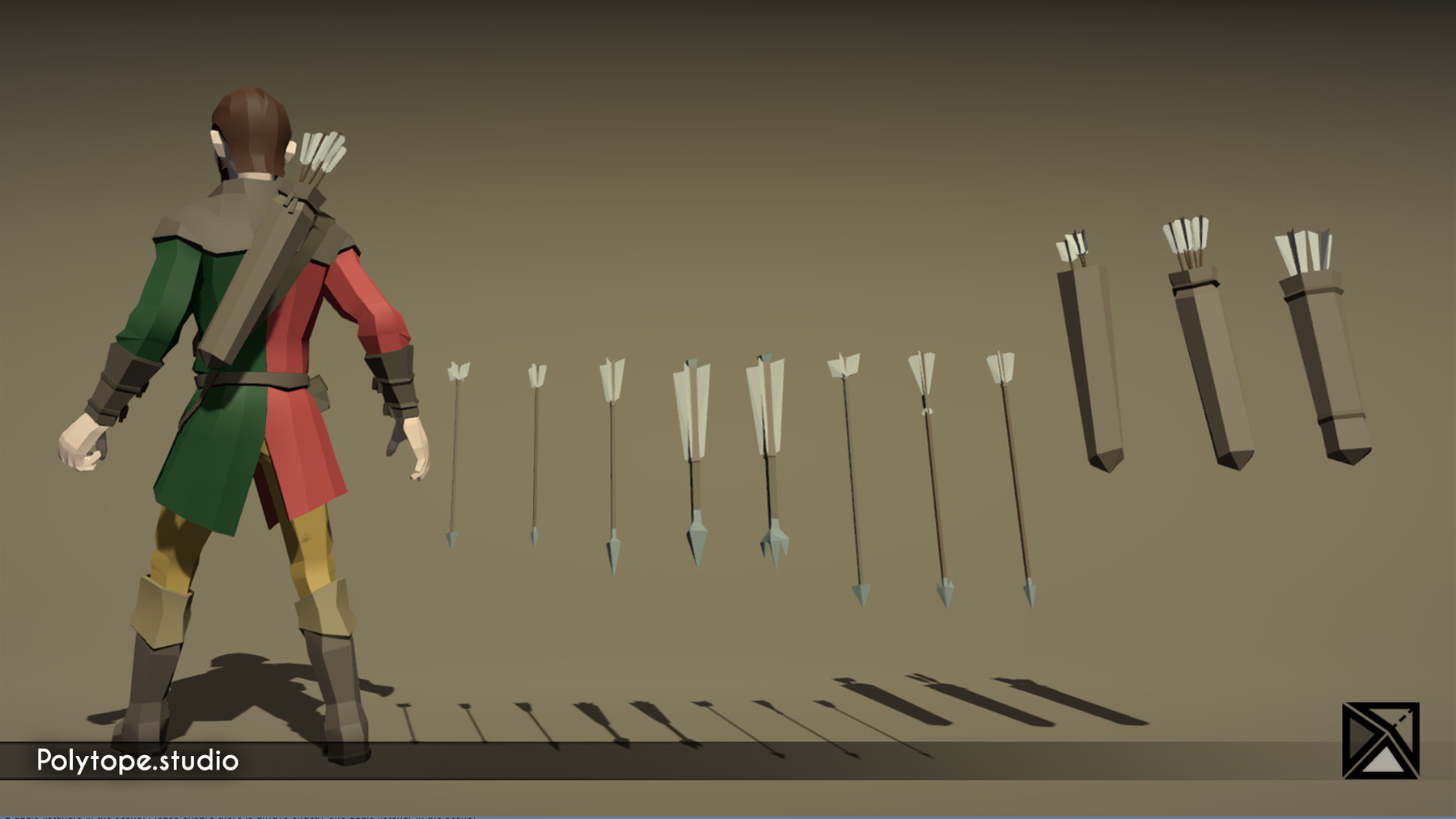 Pt medieval lowpoly weapons arrow quiver