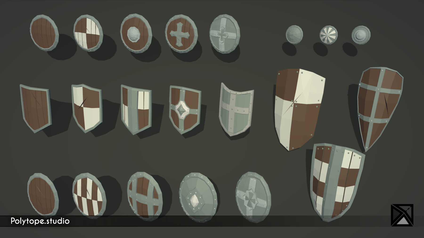 Pt medieval lowpoly weapons shield
