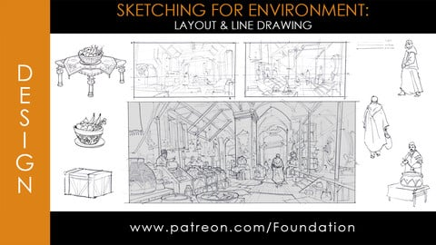 Foundation Art Group - Sketching for Environment: Layout & Line Drawing