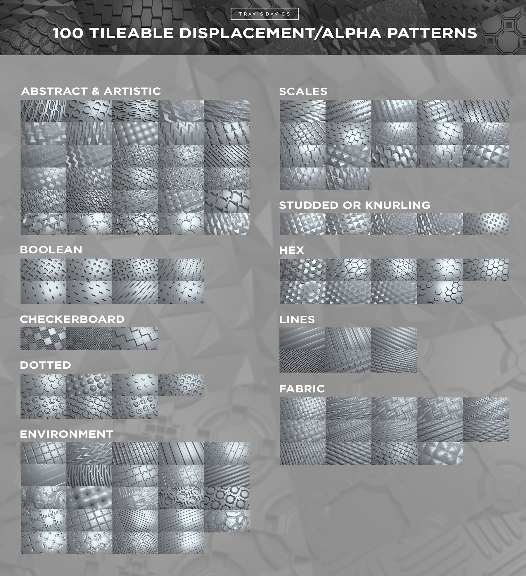 Entire collection 100 tileable displacement patterns