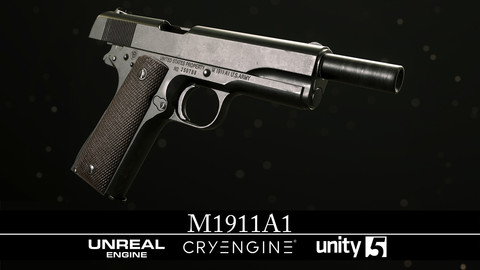 M1911A1 - WWII Era - Gameready - Fully Textured - Extended License