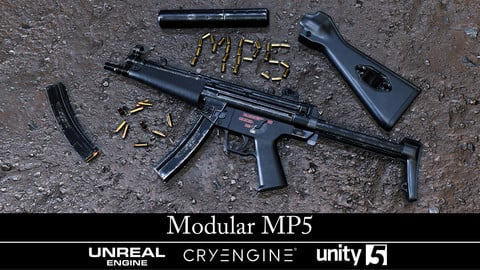 Modular MP5 - Gameready - Fully Textured - Extended License