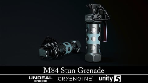 M84 Stun Grenade - Gameready - Fully Textured - Extended License
