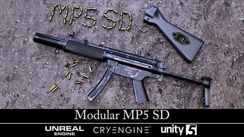 Modular MP5 SD - Gameready - Fully Textured - Extended License