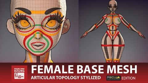Stylized Female Base Mesh - Pisciasa Edition