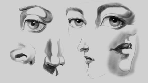 Rendering light and drawing facial features