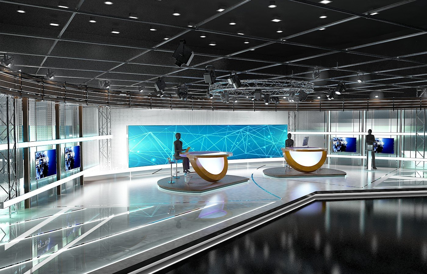 aker Studio - Virtual TV Studio News Set 3