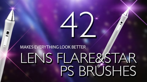 42 Lens Flare & Stars Photoshop Brushes