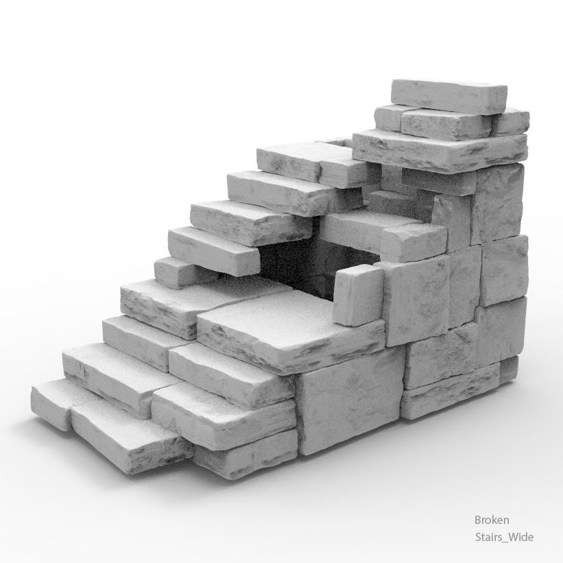 Stairs wide broken