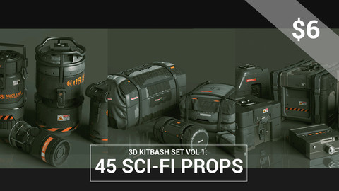 Kitbash Set Vol 1: 45 Sci-Fi Props