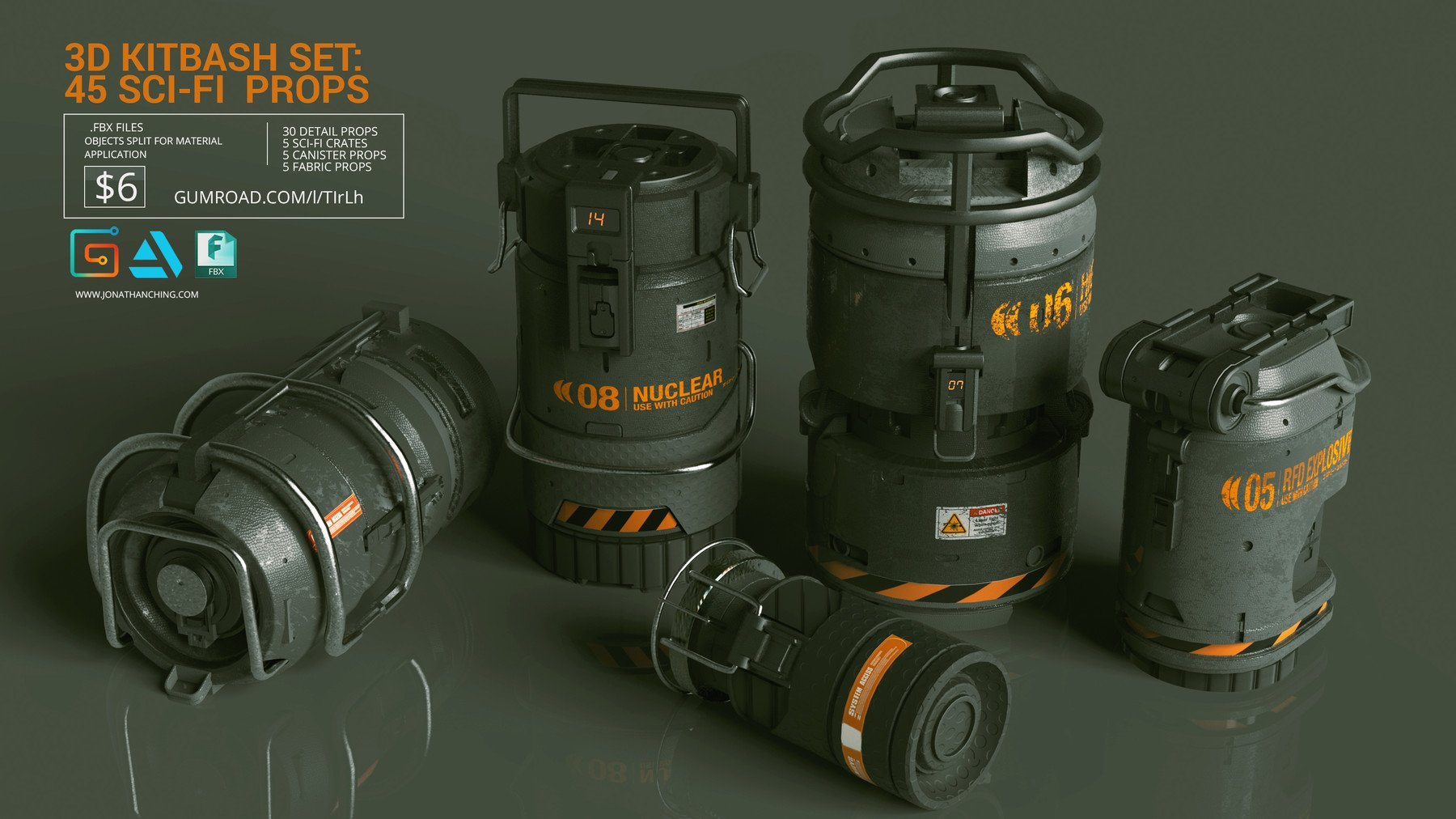 Sci fi props canisters