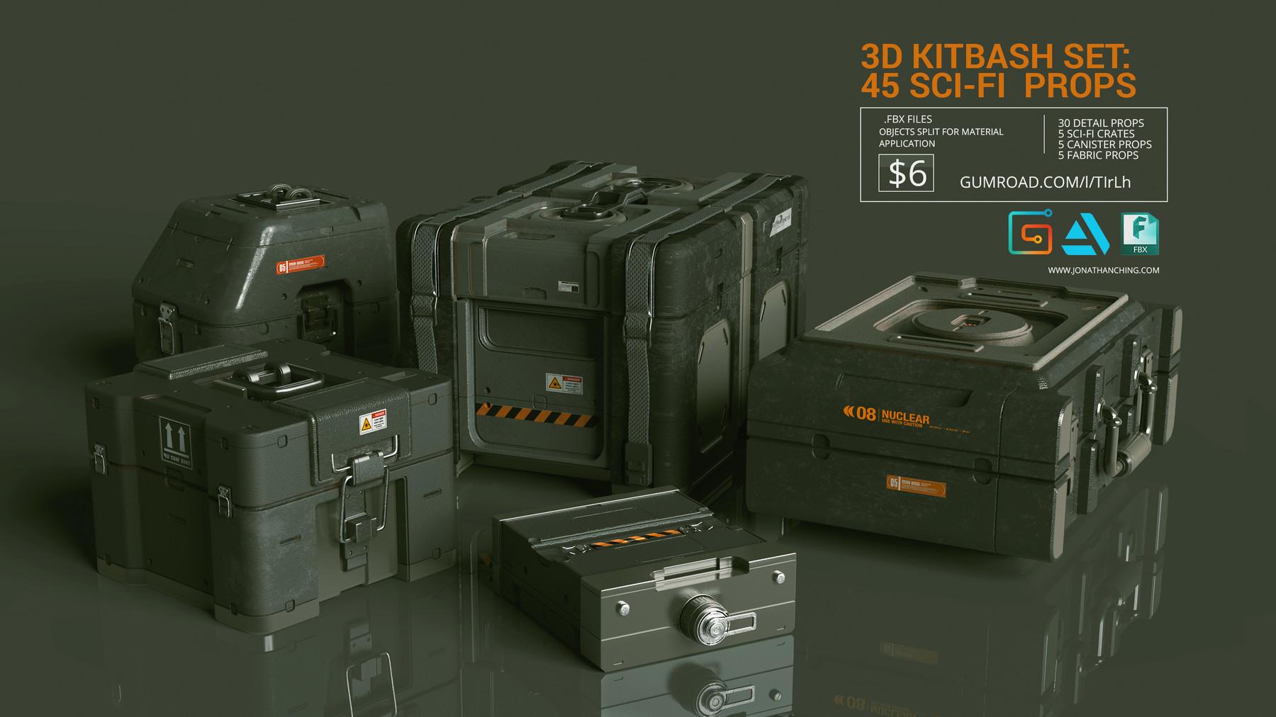 Sci fi props crates