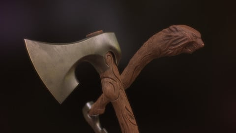 Freki - Carved Viking Axe