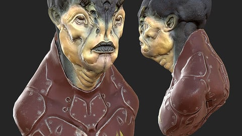 Alien character Bust - Game Mesh