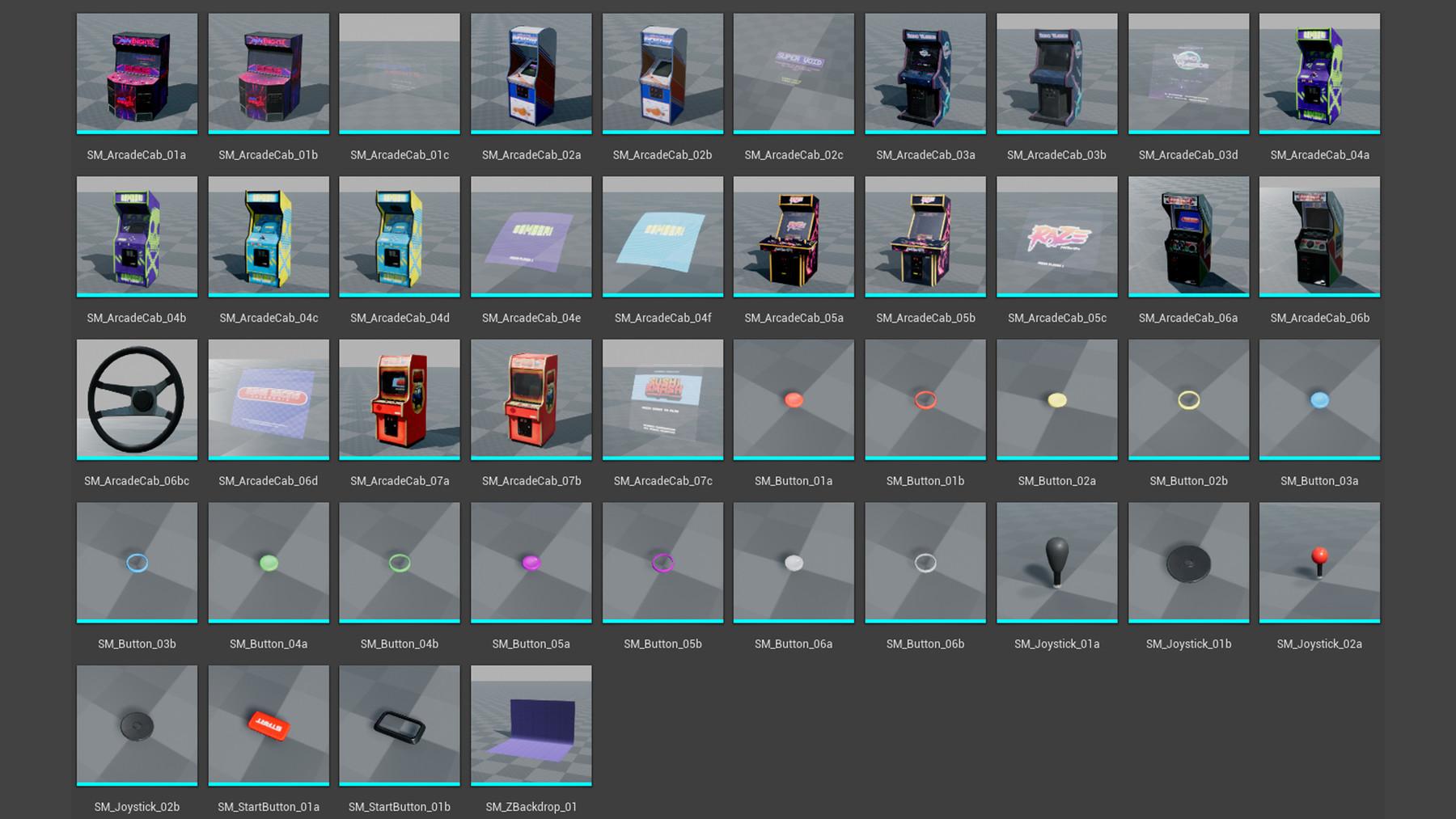 Dekogon Studios - Arcade Machine Props VOL 1 [UE4+Raw Files]