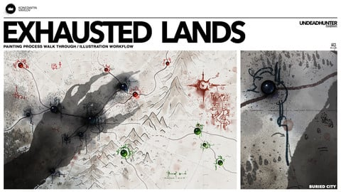 Exhausted Lands - Painting Process walk through / illustration workflow