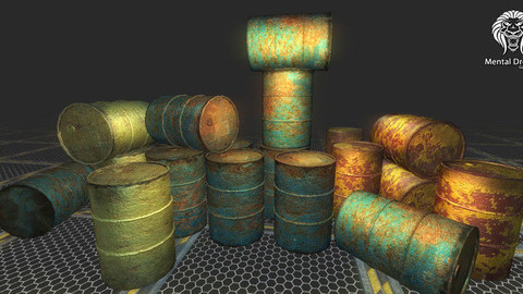 Realistic Barrel Pack Low-poly
