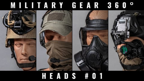 Military Gear 360° photo references - Soldier Heads #01