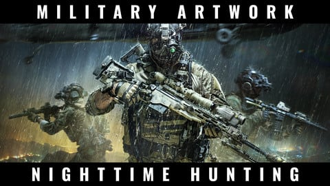 Artwork - Nighttime Hunting - War, Soldiers and Guns