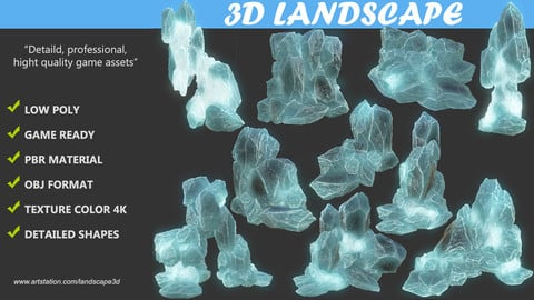 Low poly Realistic Ice Block Modular Pack