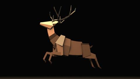 Boxy Stag (male deer) Maya Rig