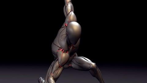 Silver Cyborg Maya Rig