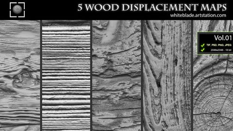 ZBrush/Mudbox/SP - 5 Wood Pattern Displacement Maps / Alphas Vol.1