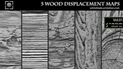 ZBrush/Mudbox/SP - 5 Wood Pattern Displacement Maps / Alphas Vol.1