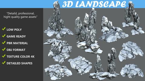 Low poly Snow Cave Rock Modular Pack