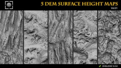 ZBrush/Mudbox/SP 5 DEM Surface Height Maps for Sculpting