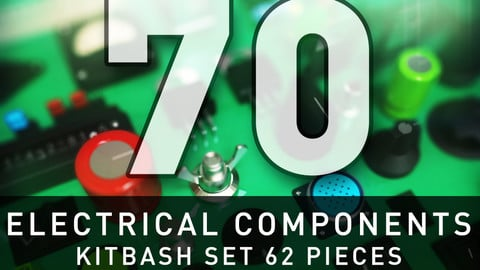 Electrical And Electronic Components - KITBASH SET 62 Pieces