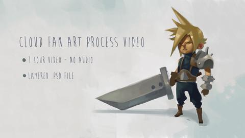 Cloud Fan Art - Digital Painting Process Video and .psd