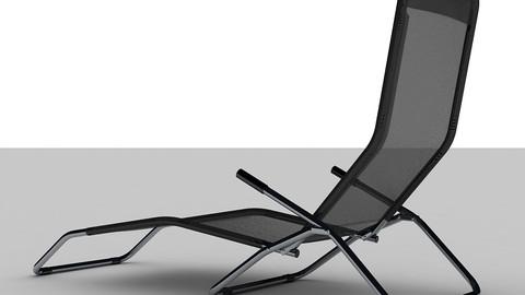 Black Reclining Sun lounger Folding Chair Low-poly 3D model