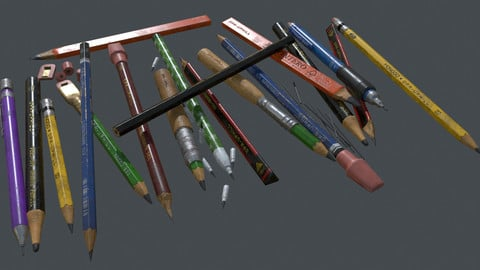 Pencils - Textured 3D Low Poly Model