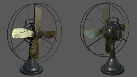 Vintage Electric Fan - Textured 3D Low Poly Model