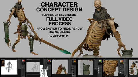 Ancient bones, character design, full video process 2x